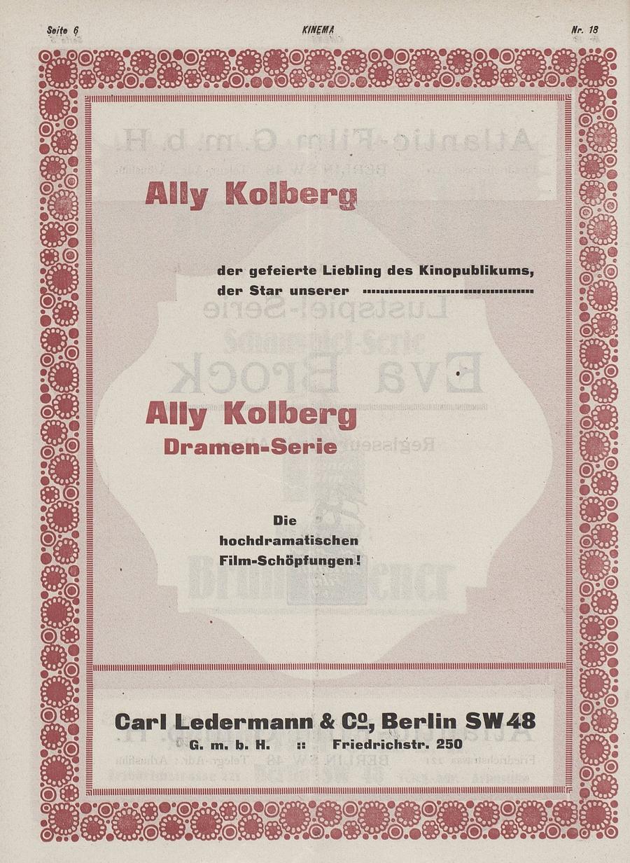 Ally Kolberg Dramen-Serie (in Kinema, 1919)
