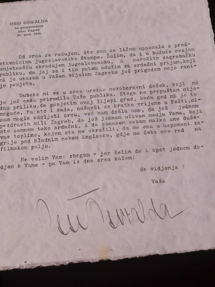 Ossi Oswalda 1928 Signed Letter
