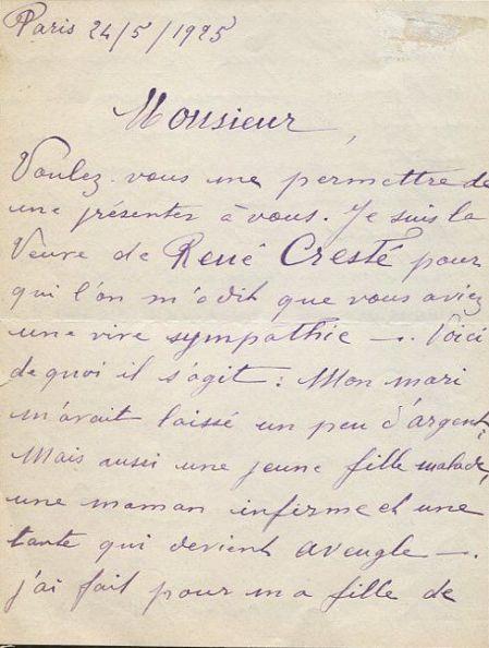 Jeanne-René Cresté 1925 Letter