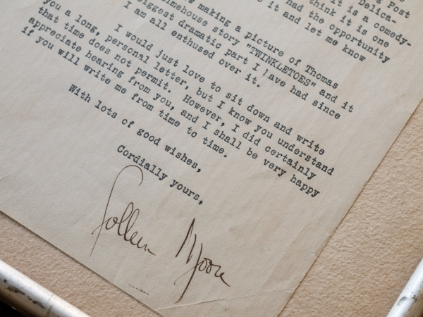 Colleen Moore Signed Letter