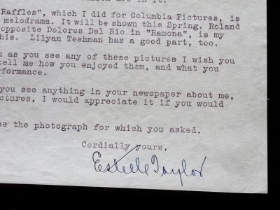 Estelle Taylor Signed Letter