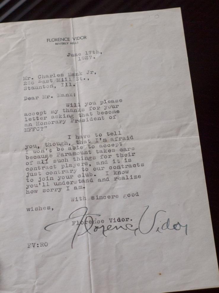 Florence Vidor Handsigned Letter