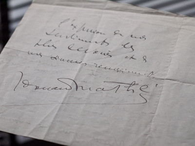 Edouard Mathe Hand-written Letter Addressed to the Isora Brothers