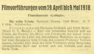 Edith Meller in Die wilde Ursula (1918)