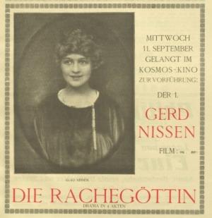 1918年9月7日付ノイエ・キノ・ルントシャウ紙より 主演作『復讐の女神』の広告