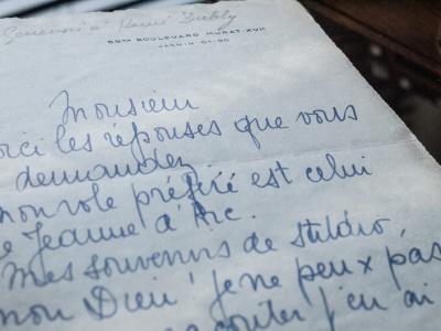 シモーヌ・ジュヌヴォワ直筆書簡(1930年頃)
