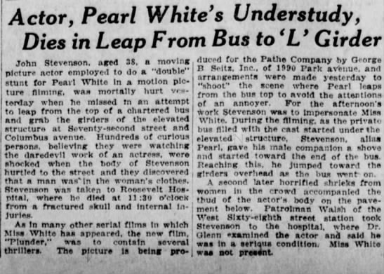 1922-08-11 Pearl White Plunder Accident