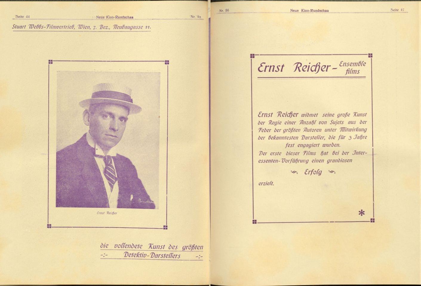 1919年3月30日付ノイエ・キノ・ルントシャウ誌よりスチュワート・ウェッブス社広告