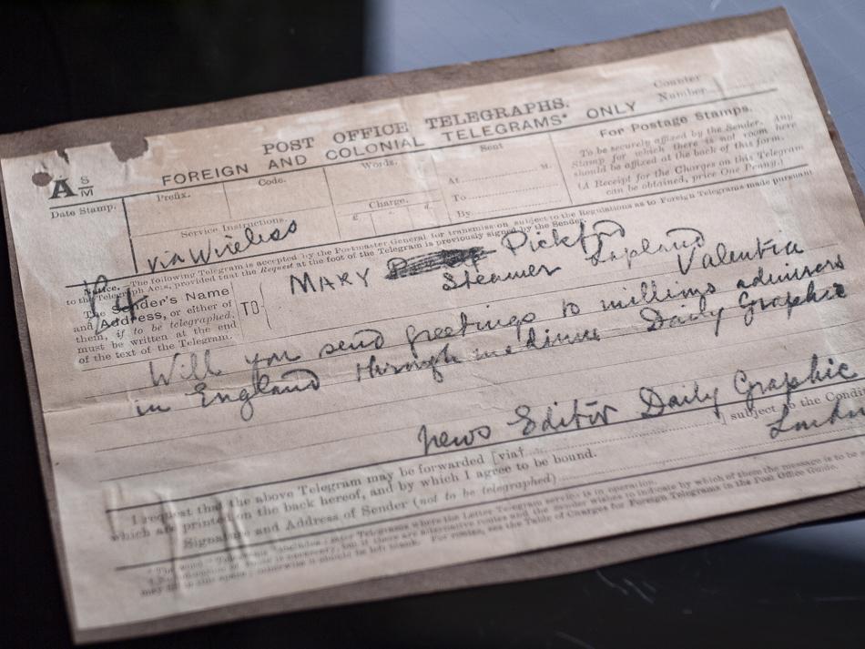1920年 メアリー・ピックフォードの電報