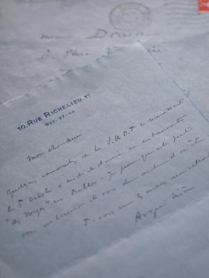 1933年 - アレクサンドル・アルキリエール(ジゴマ役俳優)直筆書簡