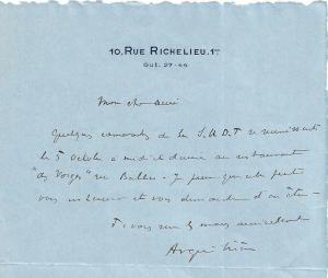 Alexandre Arquillière 1933 Lettre ancienne dédicacée (à Emile Drain)