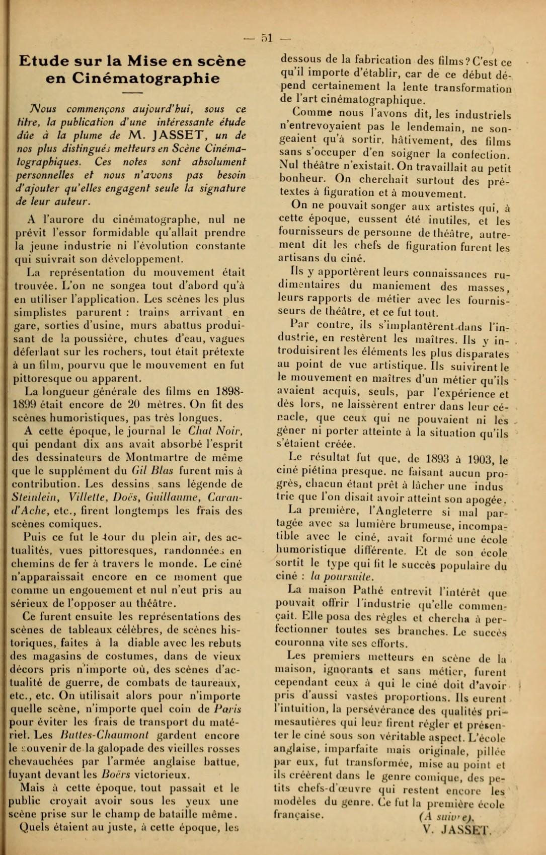 Etude sur la Mise en scène en Cinématographie (1911) Hippolyte-Victorin Jasset